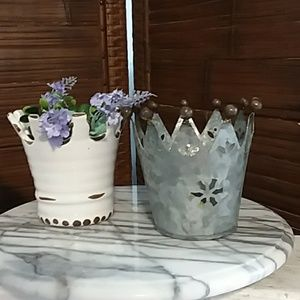 Galvanized Crown Planter